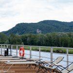 Flusskreuzfahrt-MS-Albertina-2021 - Panoramablick auf Burg Greifenstein am südlichen Steilufer der Donau
