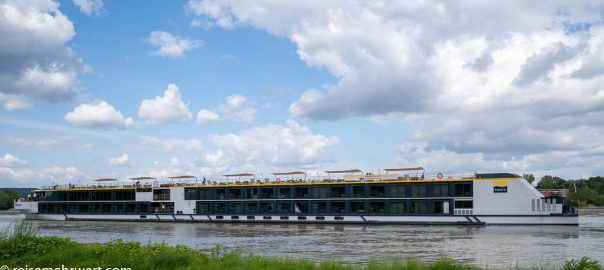 Flusskreuzfahrt-MS-Albertina-2021 - MS Albertina beim Wendemanöver